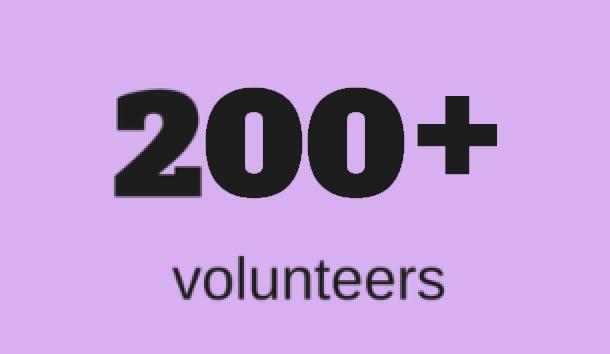 200+ volunteers